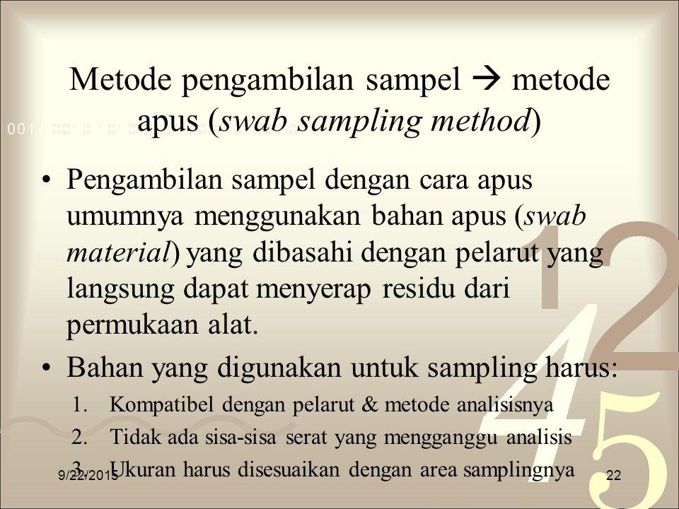 Metode pengambilan sampel  metode apus (swab sampling method)