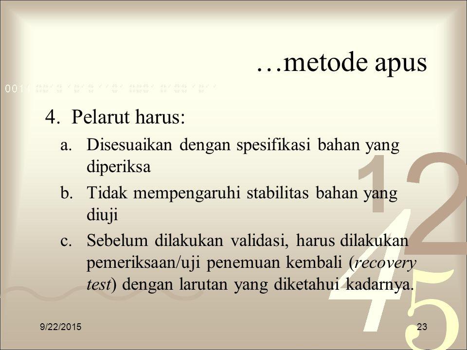 …metode apus Pelarut harus: