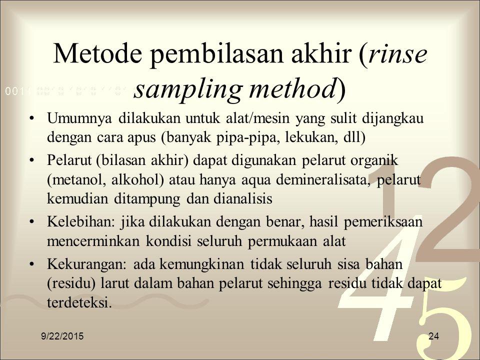 Metode pembilasan akhir (rinse sampling method)