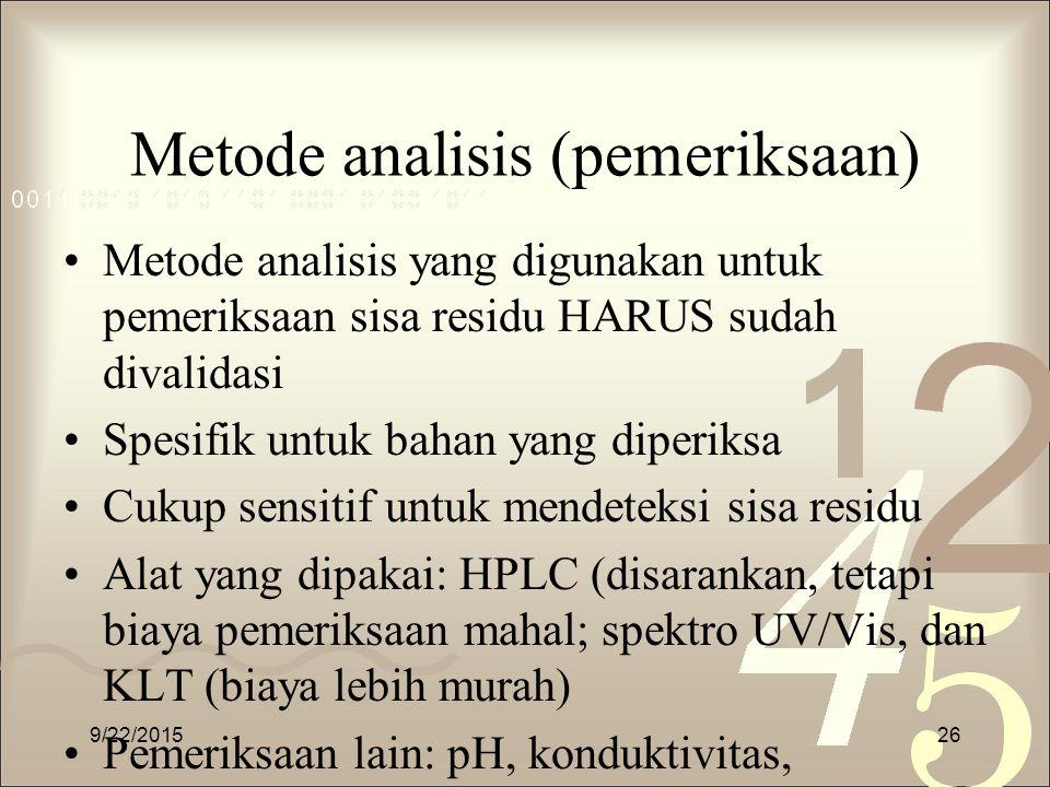 Metode analisis (pemeriksaan)