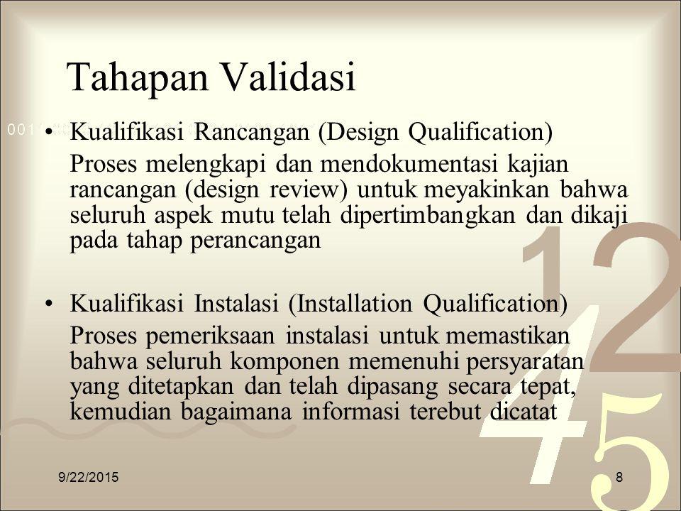 Tahapan Validasi Kualifikasi Rancangan (Design Qualification)