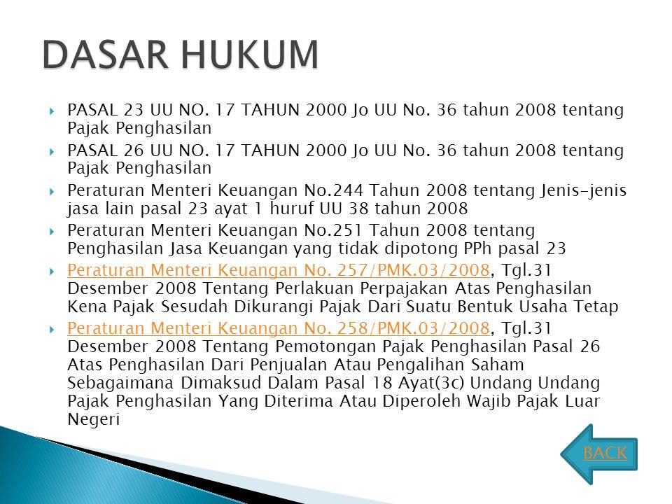 DASAR HUKUM PASAL 23 UU NO. 17 TAHUN 2000 Jo UU No. 36 tahun 2008 tentang Pajak Penghasilan.