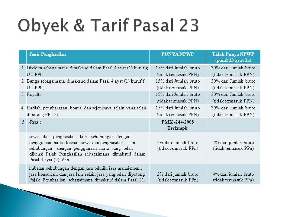 Obyek & Tarif Pasal 23 Jenis Penghasilan PUNYA NPWP Tidak Punya NPWP