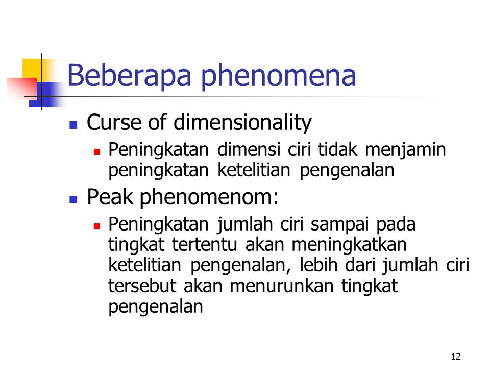 Beberapa phenomena Curse of dimensionality Peak phenomenom: