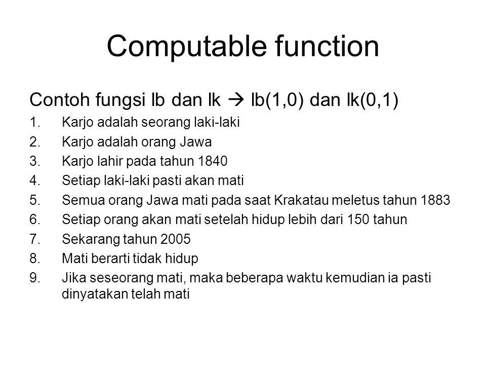Computable function Contoh fungsi lb dan lk  lb(1,0) dan lk(0,1)