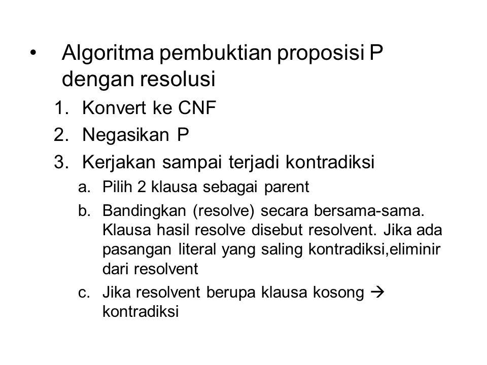 Algoritma pembuktian proposisi P dengan resolusi