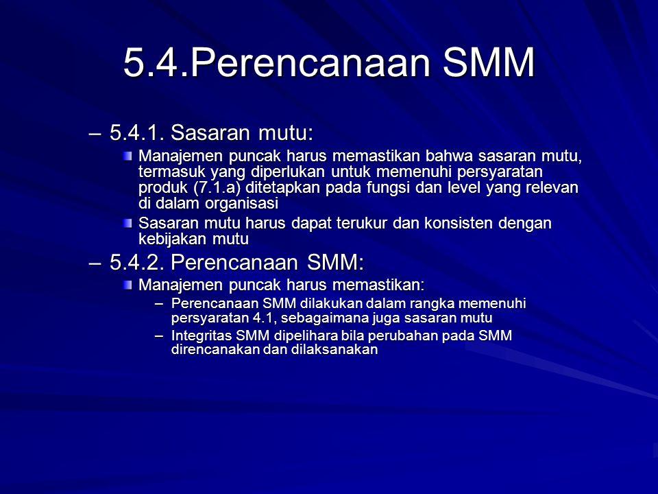 5.4.Perencanaan SMM 5.4.1. Sasaran mutu: 5.4.2. Perencanaan SMM: