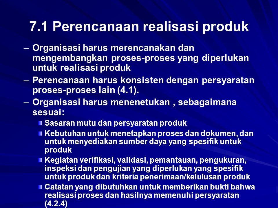 7.1 Perencanaan realisasi produk
