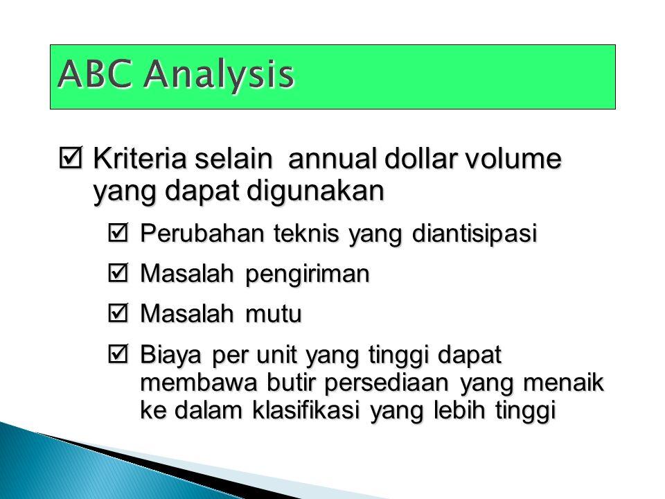 ABC Analysis Kriteria selain annual dollar volume yang dapat digunakan