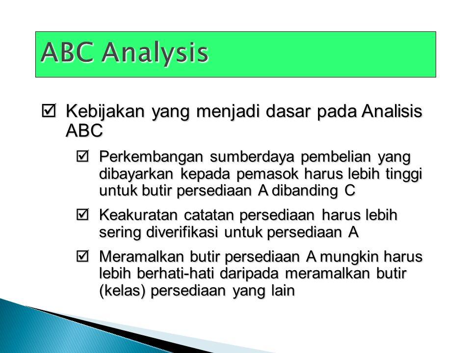 ABC Analysis Kebijakan yang menjadi dasar pada Analisis ABC