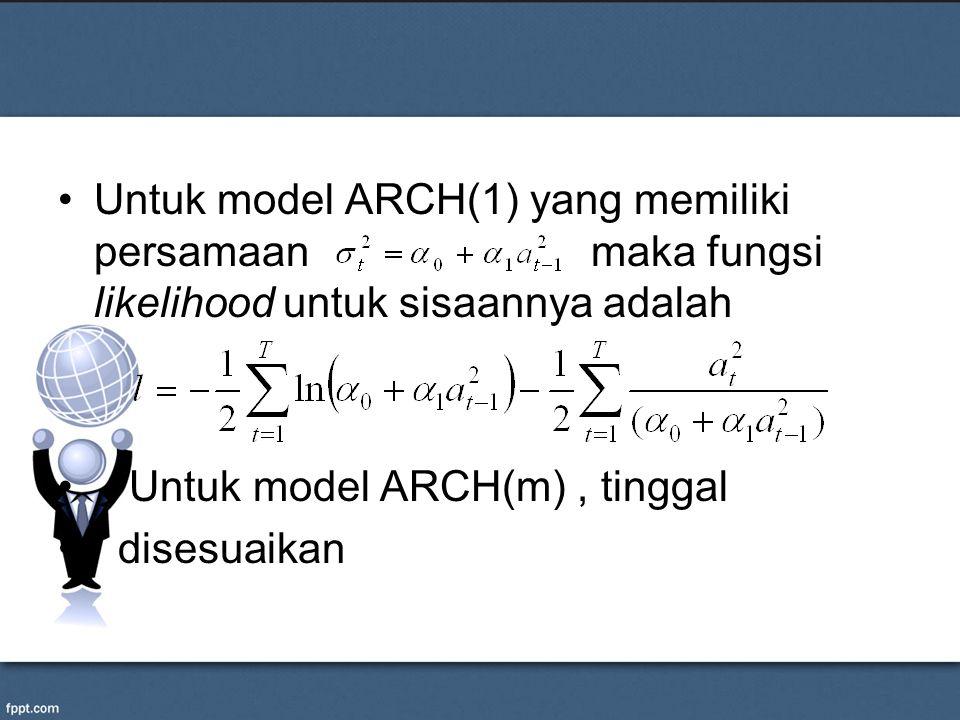 Untuk model ARCH(1) yang memiliki persamaan maka fungsi likelihood untuk sisaannya adalah