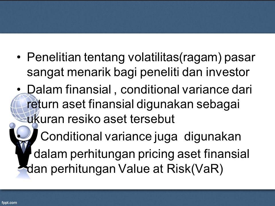 Penelitian tentang volatilitas(ragam) pasar sangat menarik bagi peneliti dan investor