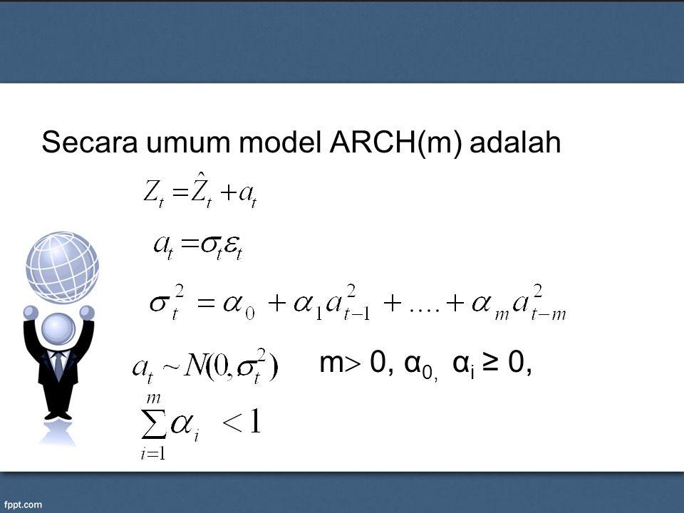 Secara umum model ARCH(m) adalah , m 0, α0, αi ≥ 0,