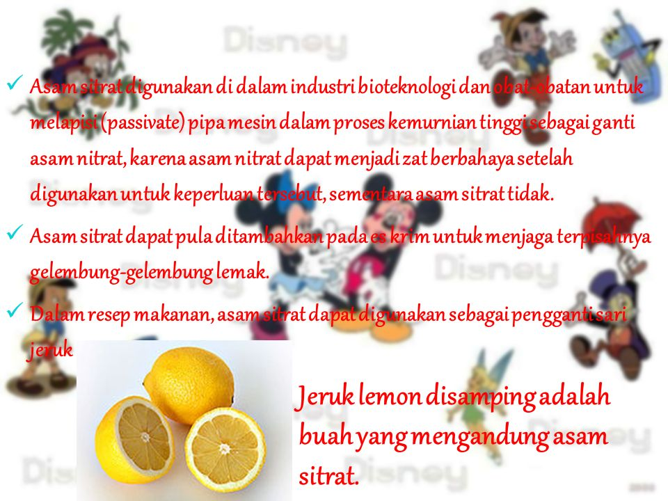 Jeruk lemon disamping adalah buah yang mengandung asam sitrat.