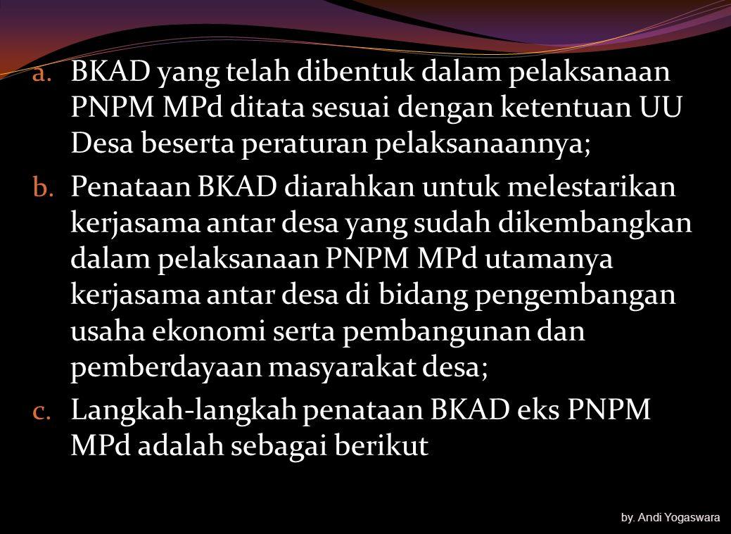 Langkah-langkah penataan BKAD eks PNPM MPd adalah sebagai berikut