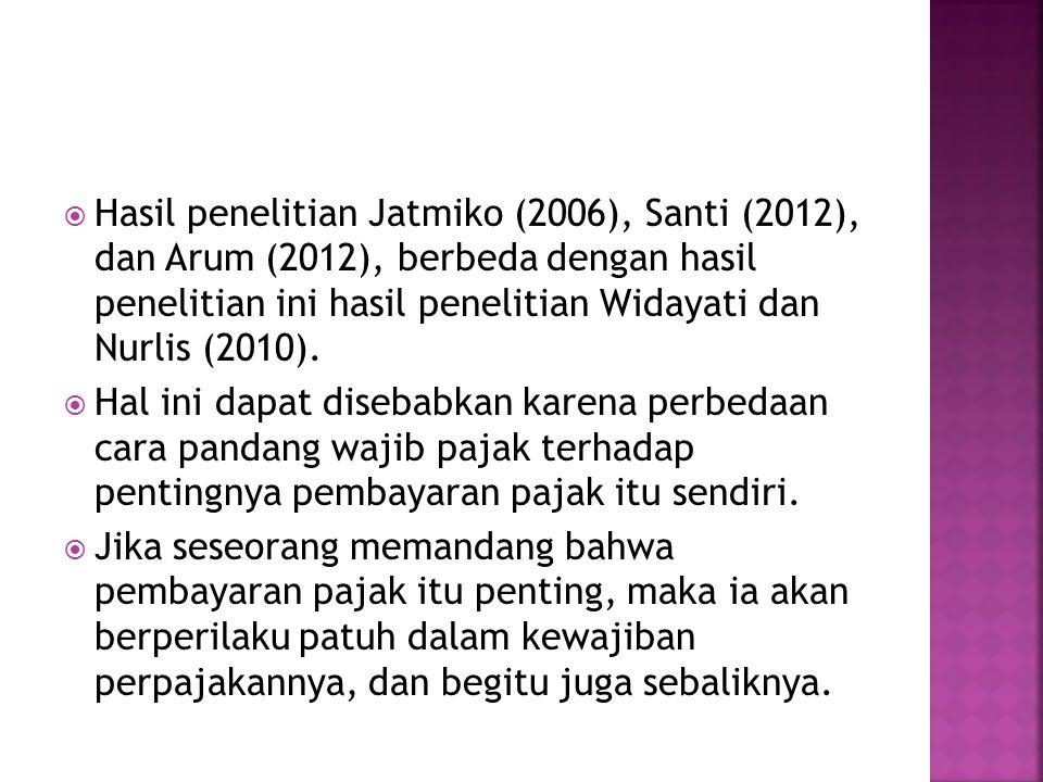 Hasil penelitian Jatmiko (2006), Santi (2012), dan Arum (2012), berbeda dengan hasil penelitian ini hasil penelitian Widayati dan Nurlis (2010).