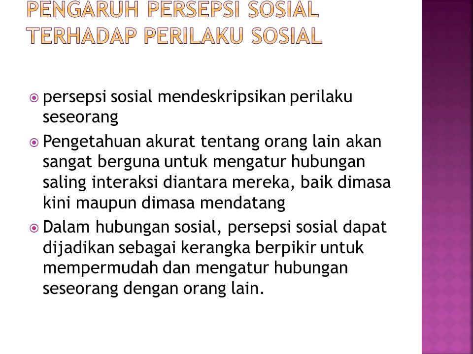 Pengaruh Persepsi Sosial terhadap Perilaku Sosial