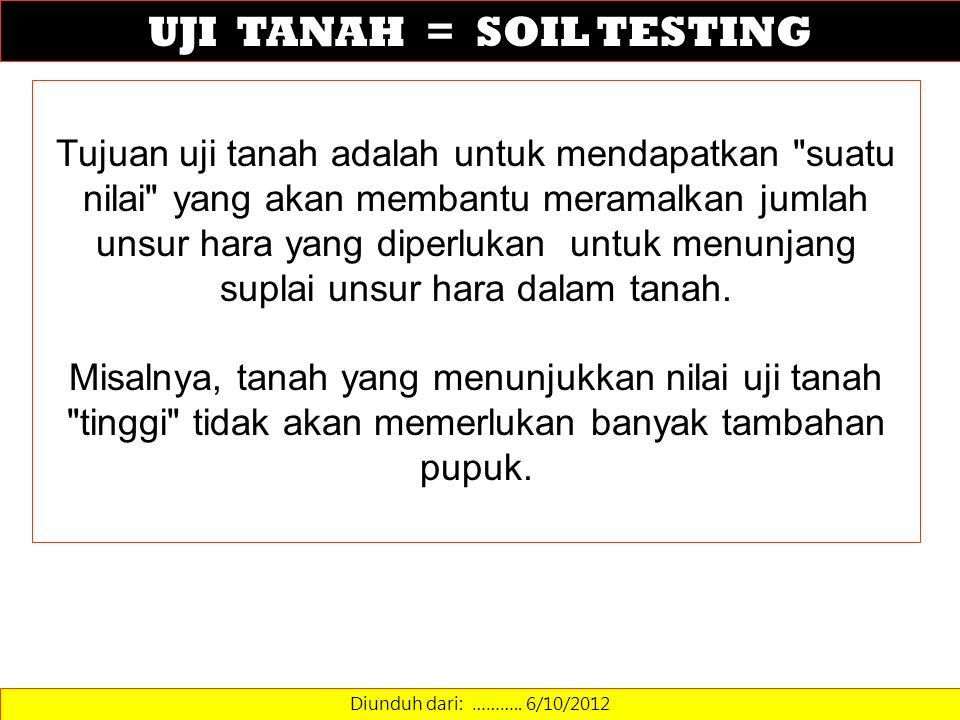 UJI TANAH = SOIL TESTING