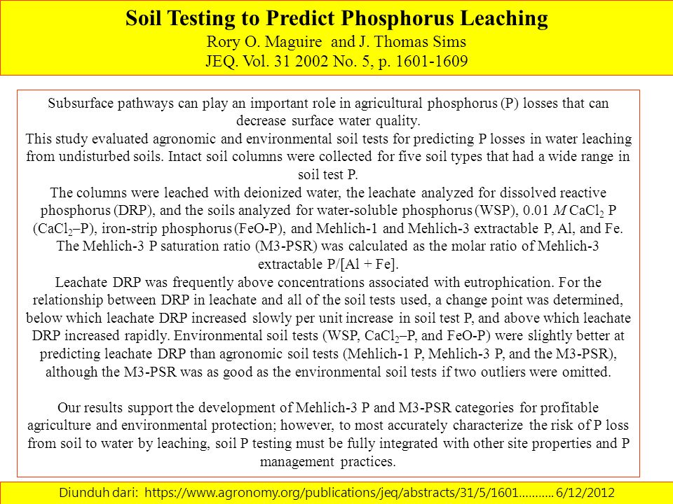 Soil Testing to Predict Phosphorus Leaching
