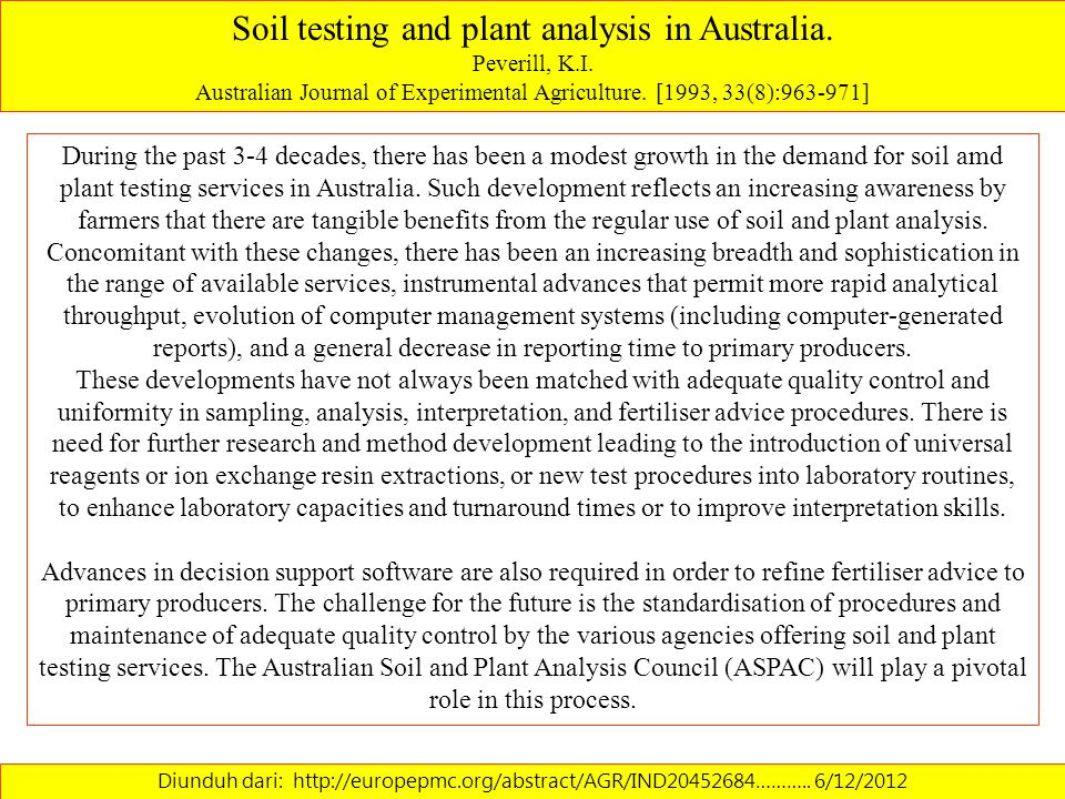 Soil testing and plant analysis in Australia.