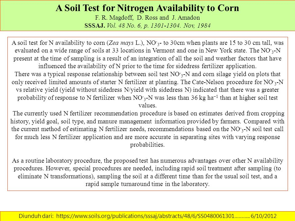 A Soil Test for Nitrogen Availability to Corn