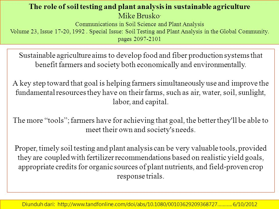 The role of soil testing and plant analysis in sustainable agriculture