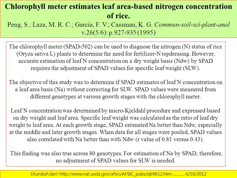 Chlorophyll meter estimates leaf area-based nitrogen concentration of rice. Peng, S.; Laza, M. R. C.; Garcia, F. V.; Cassman, K. G. Commun-soil-sci-plant-anal v.26(5/6): p.927-935 (1995)