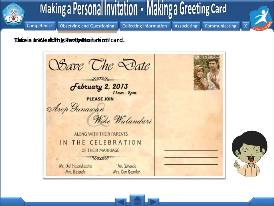 This is a Wedding Party Invitation card.