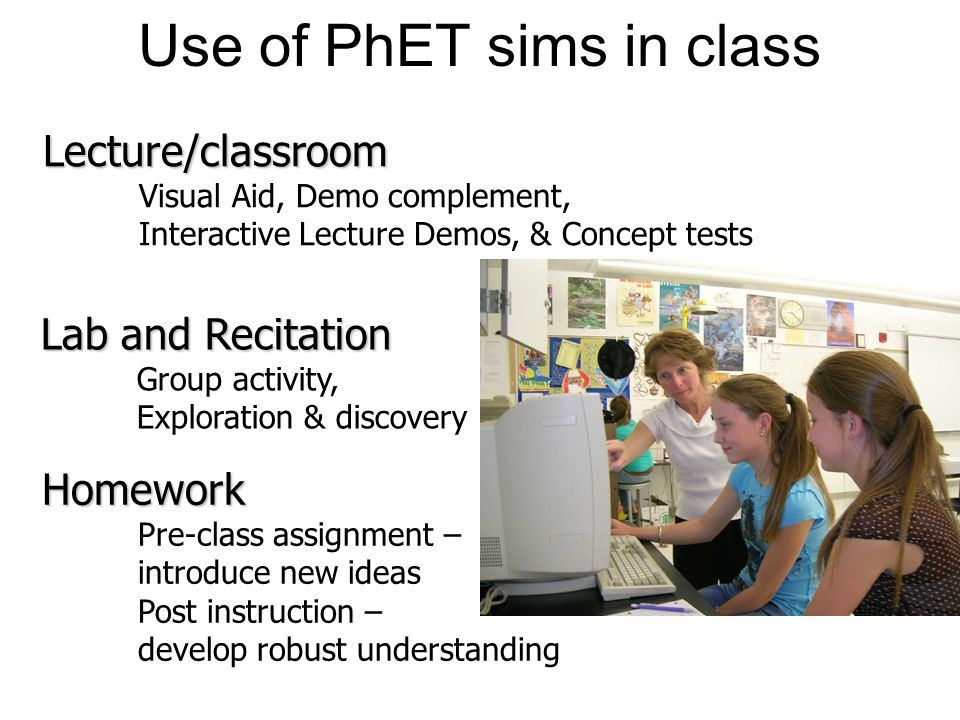 Use of PhET sims in class