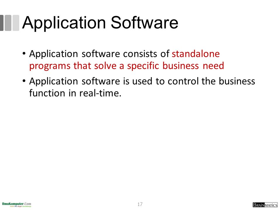 Application Software Application software consists of standalone programs that solve a specific business need.