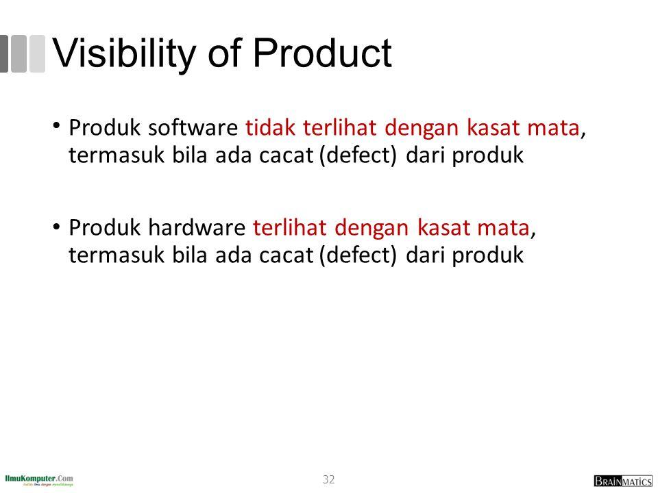 Visibility of Product Produk software tidak terlihat dengan kasat mata, termasuk bila ada cacat (defect) dari produk.