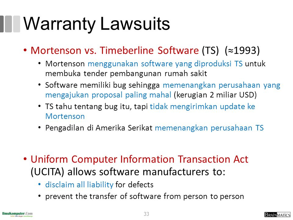 Warranty Lawsuits Mortenson vs. Timeberline Software (TS) (≈1993)