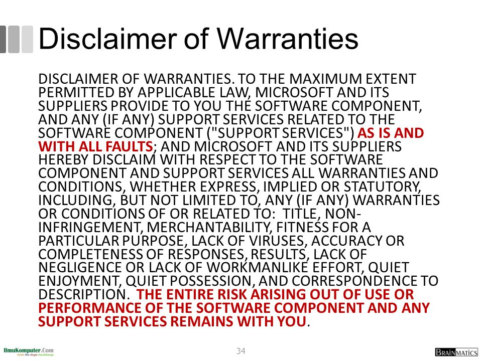 Disclaimer of Warranties