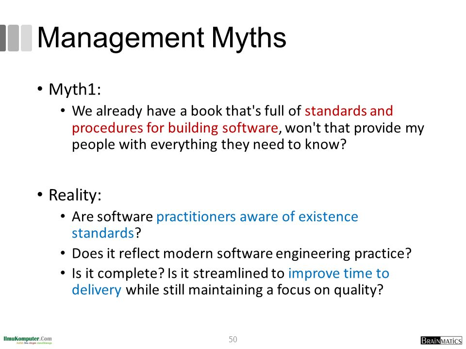 Management Myths Myth1: Reality:
