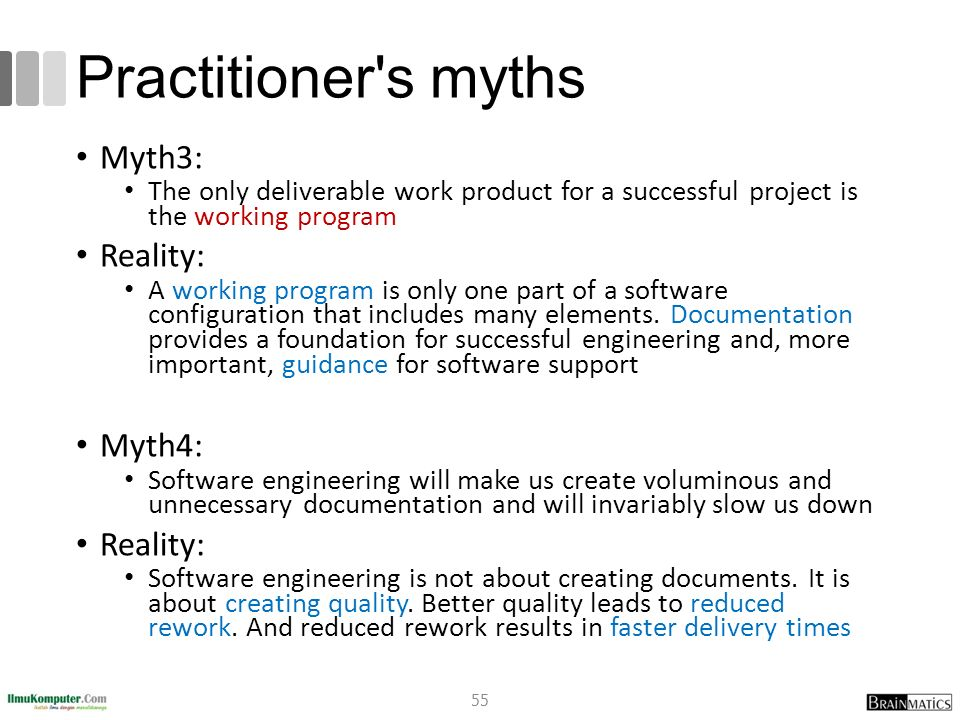 Practitioner s myths Myth3: Reality: Myth4: