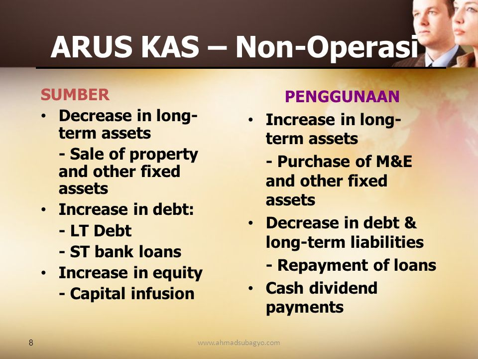 ARUS KAS – Non-Operasi SUMBER Decrease in long-term assets