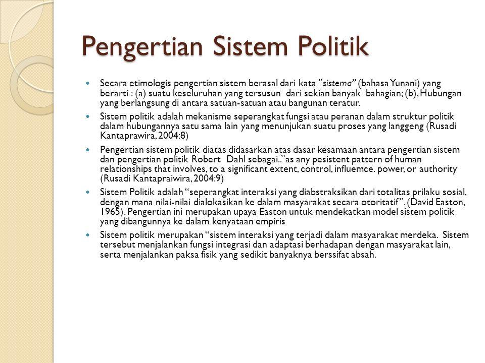 Pengertian Sistem Politik