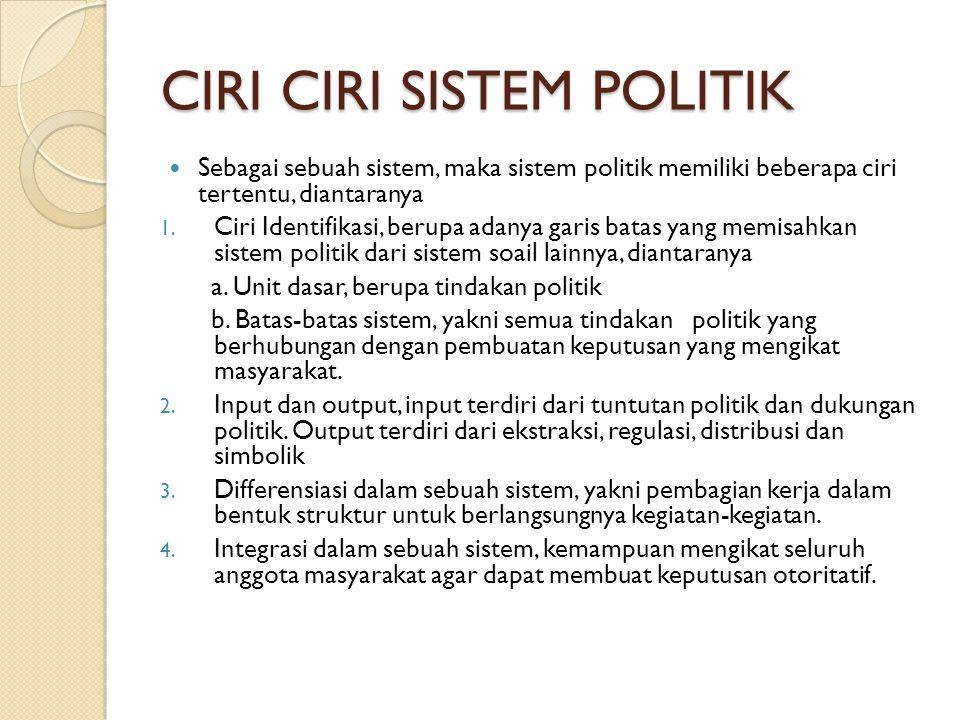 CIRI CIRI SISTEM POLITIK