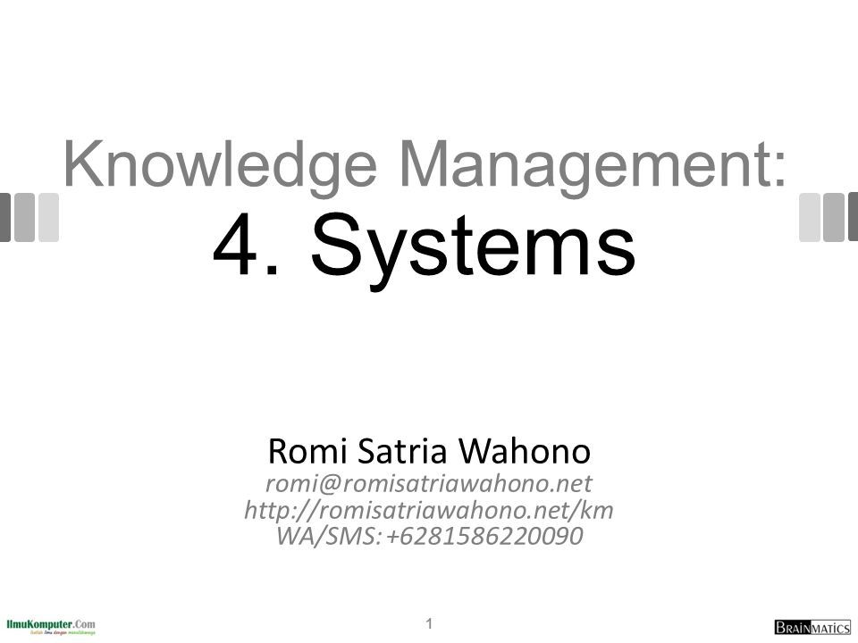 Knowledge Management: 4. Systems