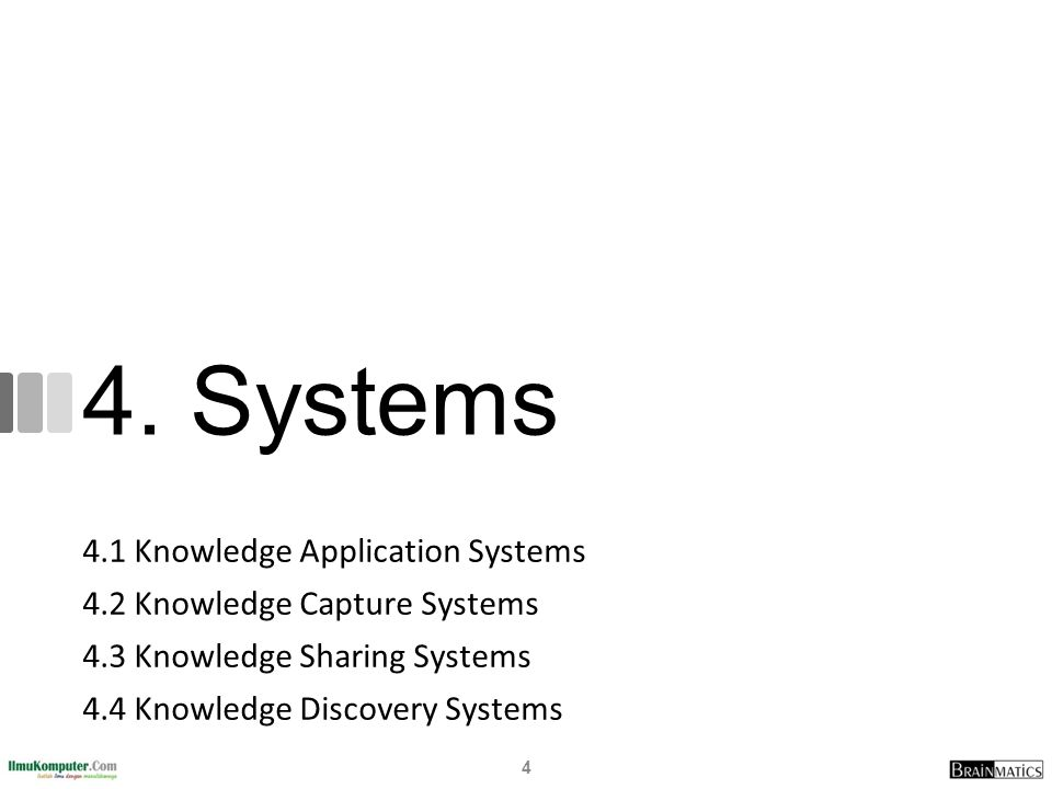 4. Systems 4.1 Knowledge Application Systems