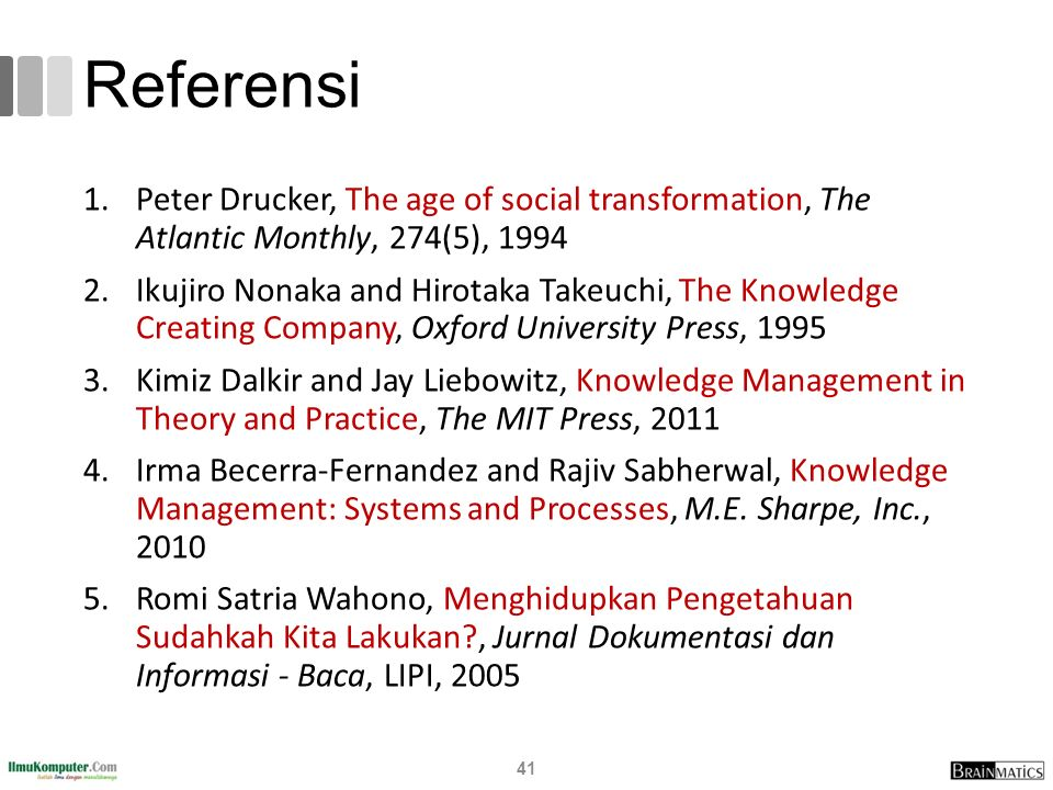 Referensi Peter Drucker, The age of social transformation, The Atlantic Monthly, 274(5), 1994.