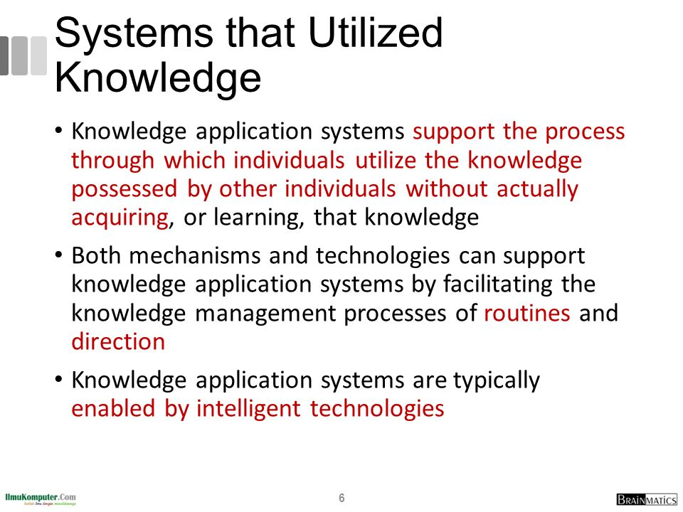 Systems that Utilized Knowledge