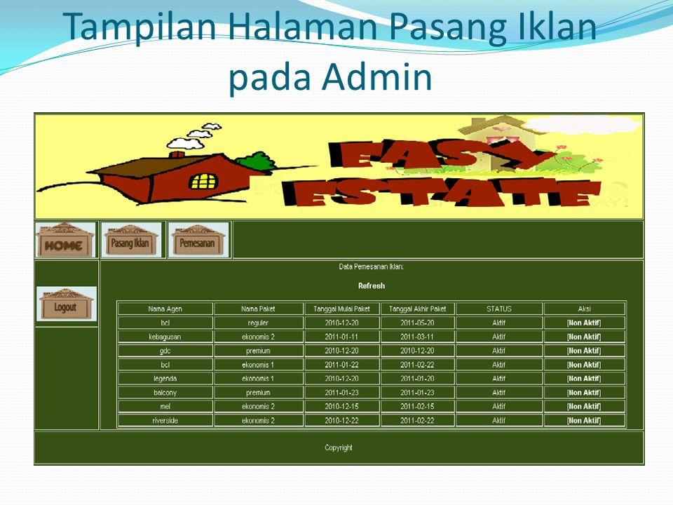 Tampilan Halaman Pasang Iklan pada Admin