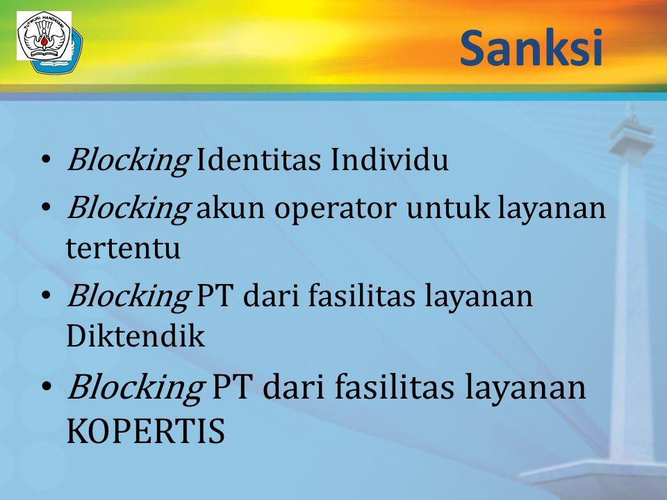 Sanksi Blocking PT dari fasilitas layanan KOPERTIS