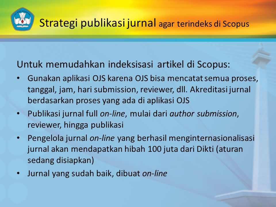 Strategi publikasi jurnal agar terindeks di Scopus