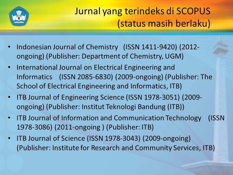 Jurnal yang terindeks di SCOPUS (status masih berlaku)