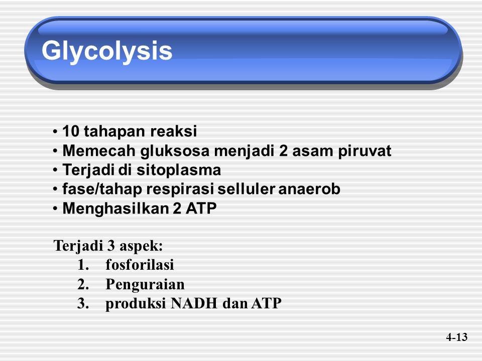 Glycolysis 10 tahapan reaksi Memecah gluksosa menjadi 2 asam piruvat