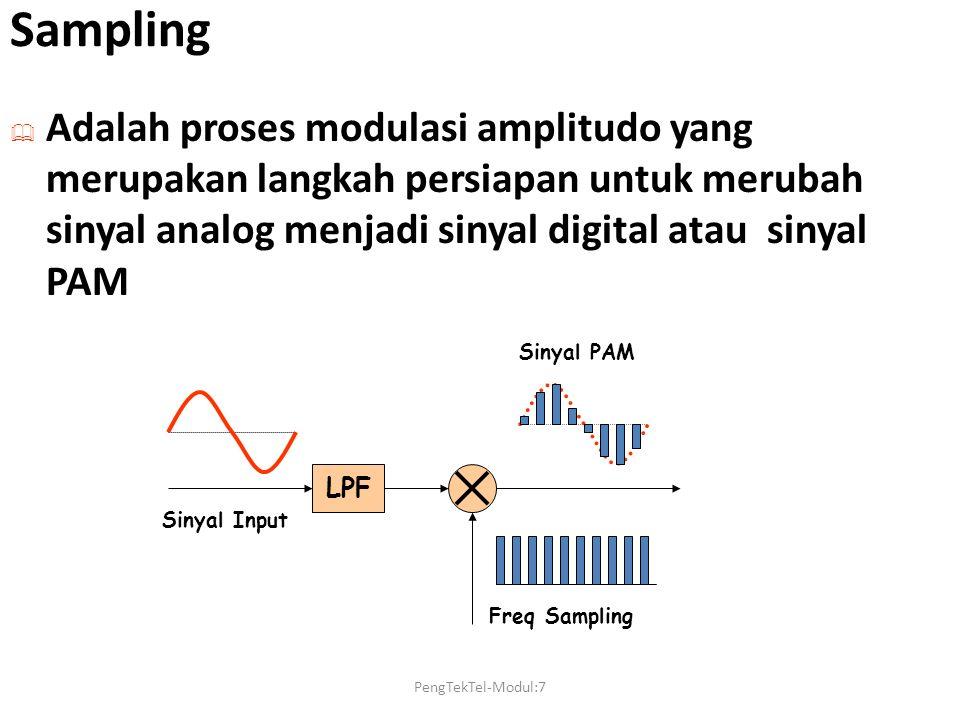 Sampling Adalah proses modulasi amplitudo yang merupakan langkah persiapan untuk merubah sinyal analog menjadi sinyal digital atau sinyal PAM.