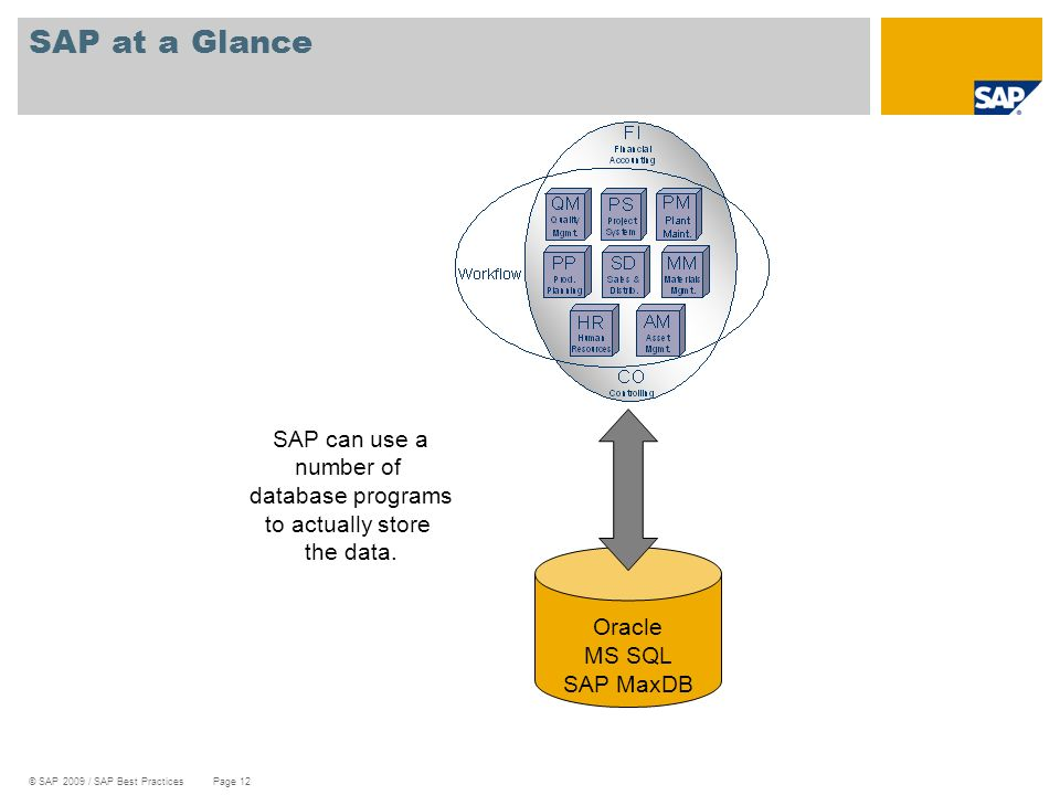 SAP at a Glance SAP can use a number of database programs