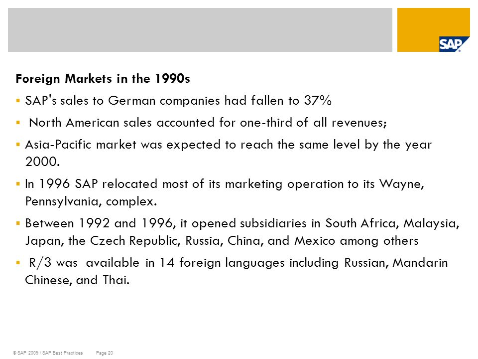 Foreign Markets in the 1990s